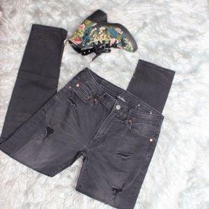 American Eagle Distressed Black Skinny Jeans